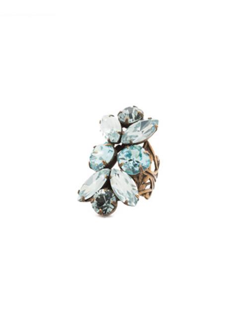 Sorrelli Afterglow-Crystal Lotus Flower Oversized Cocktail Ring~ RCR1AGAFG