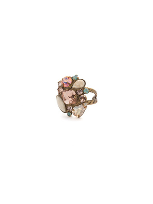 Sorrelli APRICOT AGATE- Contemporary Cluster Crystal Ring~ RDK15AGAP