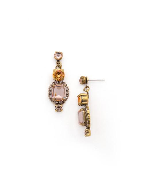 SORRELLI~APRICOT AGATE Embroidered Cushion Cut Post Earrings~ EDK18AGAP