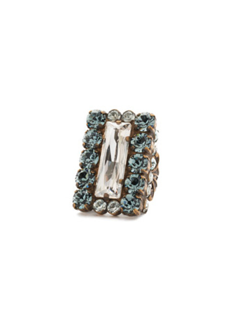 Sorrelli Afterglow-Baguette and Round Cut Crystal Cocktail Ring~ RCR7AGAFG