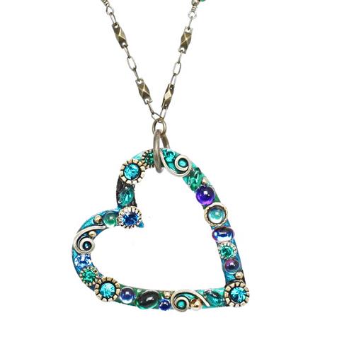 Michal Golan Emerald Open Heart Pendant Necklace~N3731