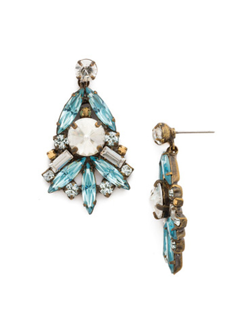 Sorrelli Afterglow- Bold Crystal Cluster Earrings~ ECR48AGAFG