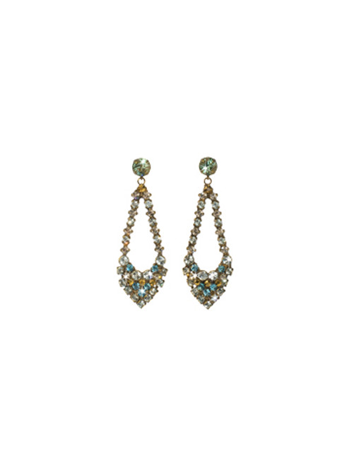 Sorrelli Afterglow- Openwork Teardrop Crystal Drop Earrings~ ECR57AGAFG