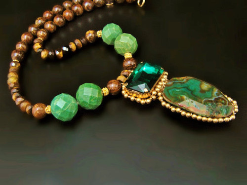 Emerald Green Agate & Tigers Eye Necklace -Best One of A Kind Hand Wired Jewelry by Sharona Nissan