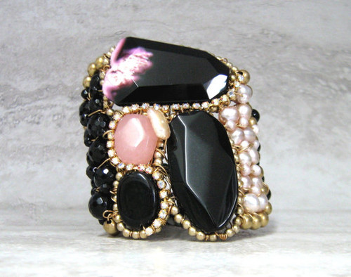 Unique Artisan Bracelet- Agate Cuff in Black & Pink by Sharona Nissan