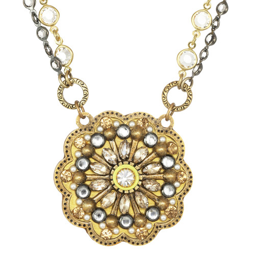 michal golan yellow flower necklace n4076