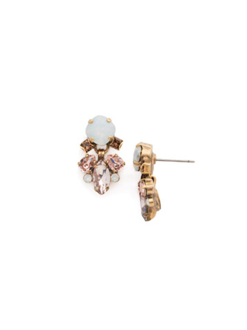 Sorrelli PINK PEONY Crystal Earrings EDN66AGPP