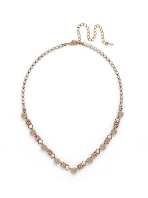 Sorrelli PINK PEONY Crystal Necklace NDN36AGPP