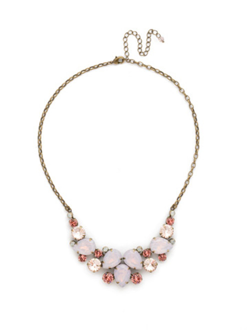 Sorrelli PINK PEONY Crystal Necklace NDJ14AGPP