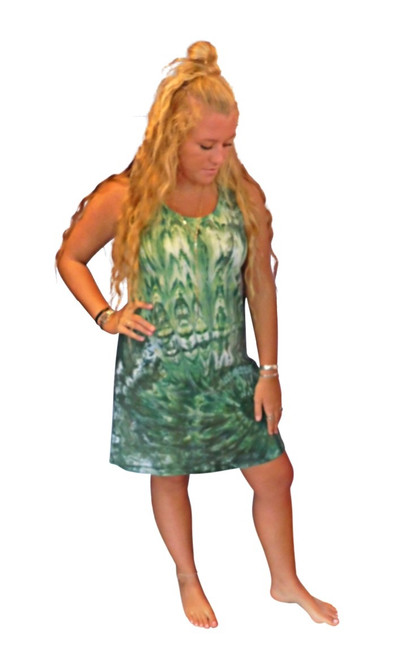 Ice Tye Dye Tank Dress by Martha~Moss Green
