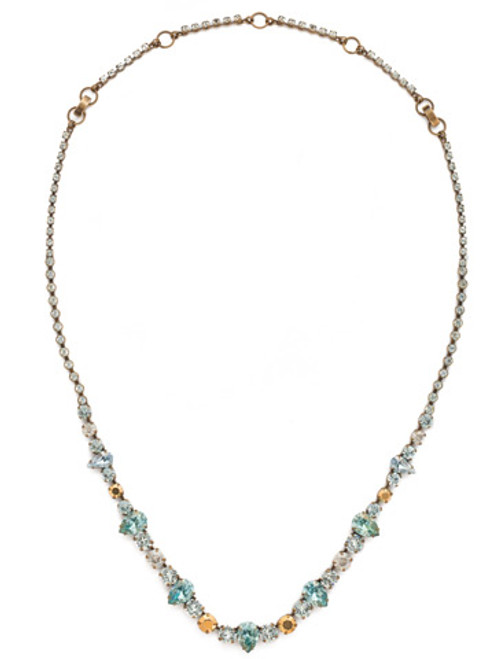 Sorrelli Afterglow- Pear and Round Cut Crystal Necklace~ NCR19AGAFG