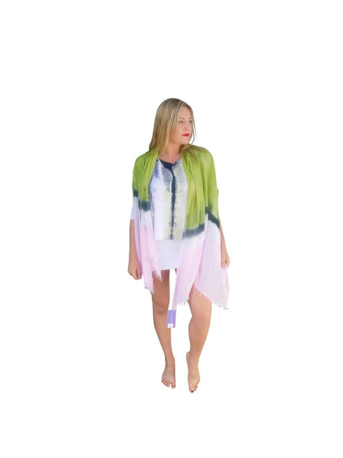 Silk Modal Wrap By Annie Turbin Pink & Green Stripe