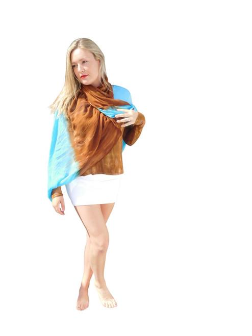 Silk Modal Wrap By Annie Turbin Turquoise/Brown