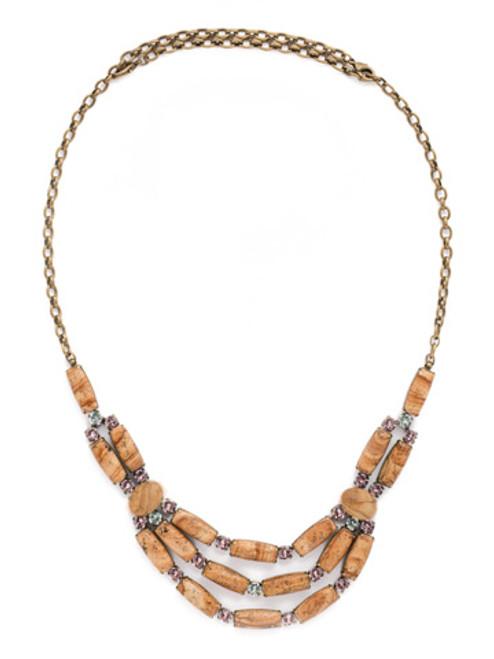 Sorrelli Rustic Bloom Crystal Necklace NDN5AGRB
