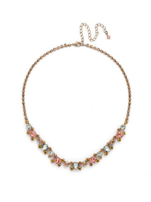 Sorrelli Rustic Bloom Crystal Necklace NDK11AGRB