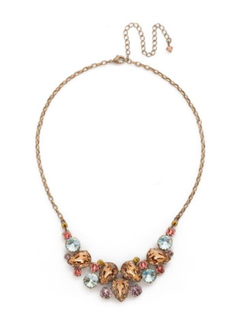 Sorrelli Rustic Bloom Crystal Necklace NDJ14AGRB