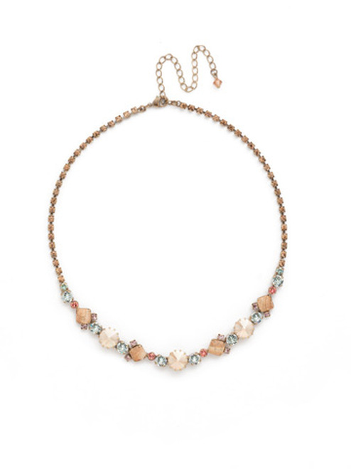 Sorrelli Rustic Bloom Crystal Necklace NDH7AGRB