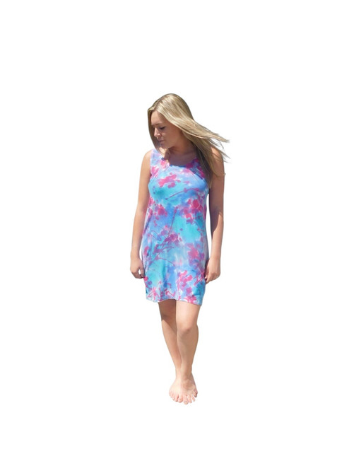 Hand Painted Hemp Dress ~Franklin Street Studio~Pink Aqua