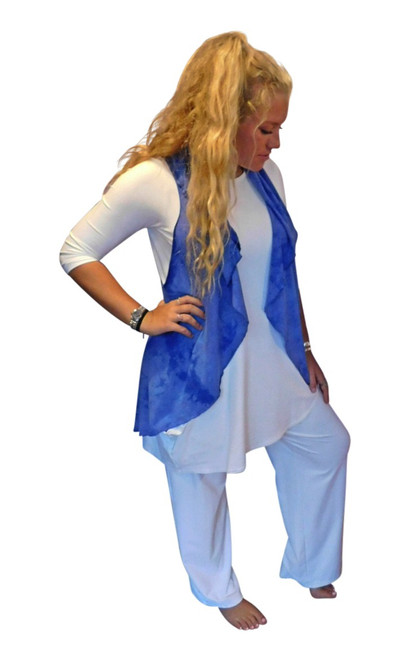Blue Poppy Flow Bamboo  Vest by Moontide Dyers
