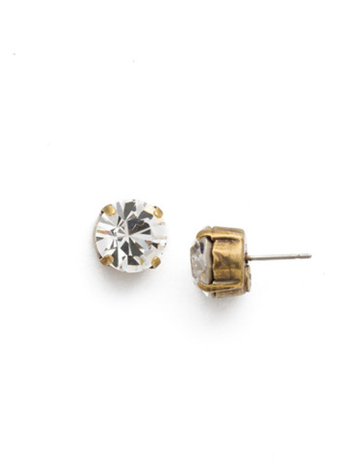 Sorrelli Antique Gold CRYSTAL- Round Crystal Stud Earrings~ ECM14AGCRY