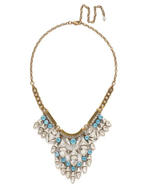 DENIM BLUE Crystal Mini Tribal Statement Necklace by Sorrelli NDM49AGSMR