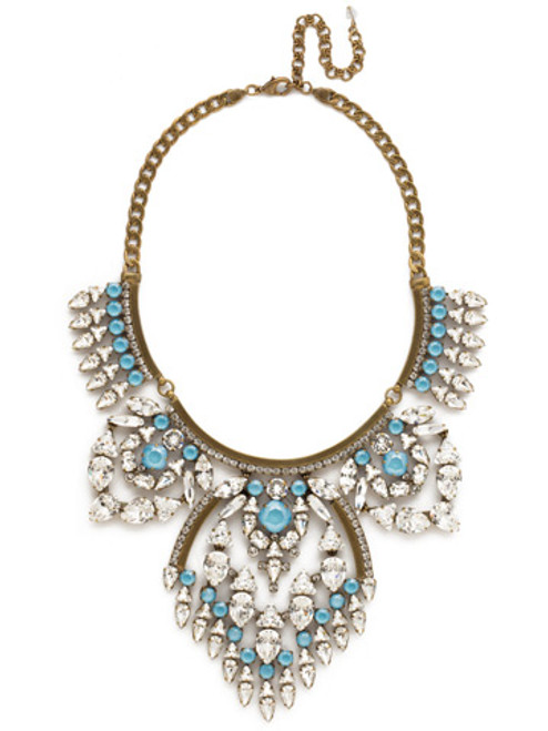 Denim BLUE Crystal Tribal Statement Necklace