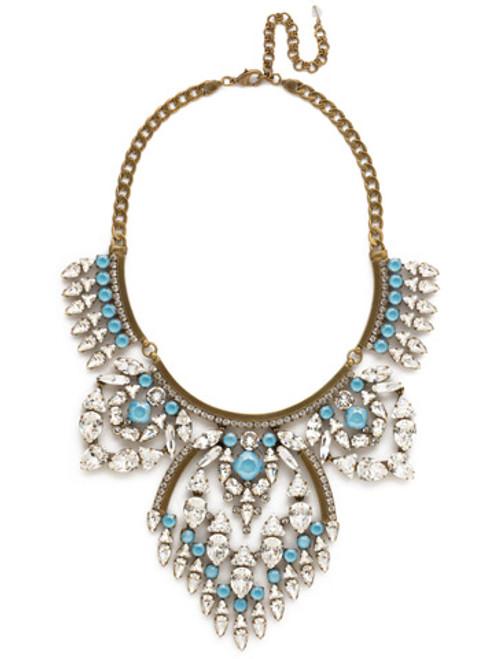 Denim Blue Crystal Tribal Statement Necklace by Sorrelli~NSP85AGSMR