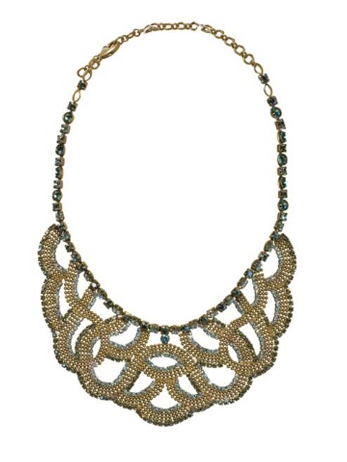 Sorrelli AQUA BUBBLES- Swarovski Crystal Statement Bib Necklace~ NBW10AGAQB