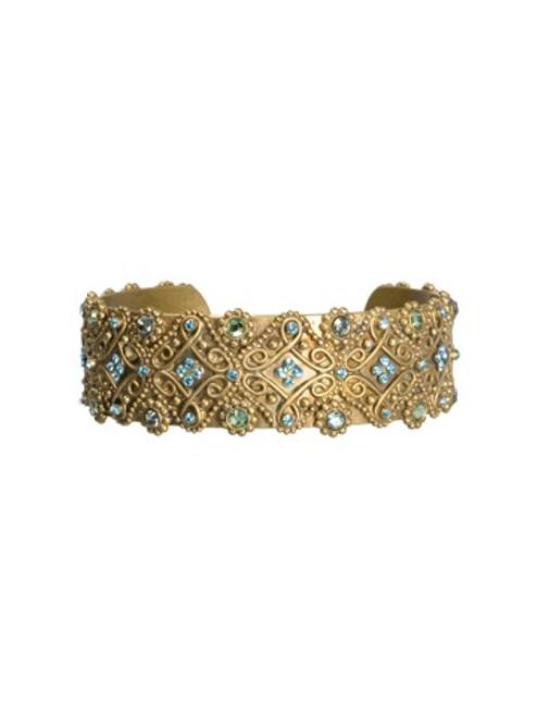 Sorrelli AQUA BUBBLES- Intricate Crystal Cuff Bracelet~ BBW27AGAQB