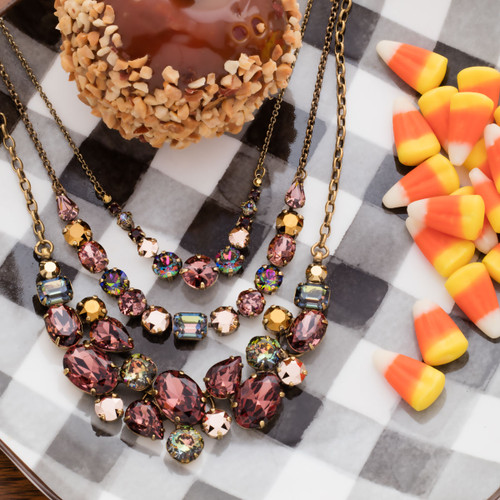 Sorrelli Mahogany Forget Me Not Crystal Statement Necklace~NDQ6AGM