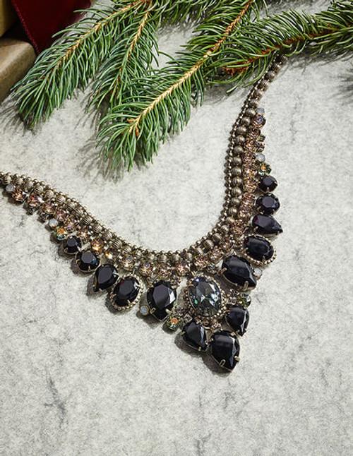 Sorrelli Black Onyx Protea Crystal Statement Necklace ~NDQ3ASBON