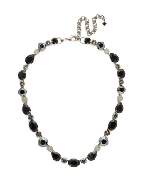 Sorrelli Black Onyx Crystal Narcissus Necklace ~NDQ37ASBON
