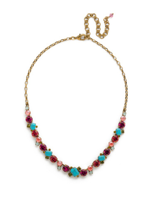 Sorrelli Botanical Brights Crystal Necklace NDB78AGBOT