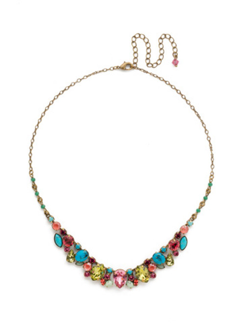 Sorrelli Botanical Brights Crystal Necklace NDK15AGBOT