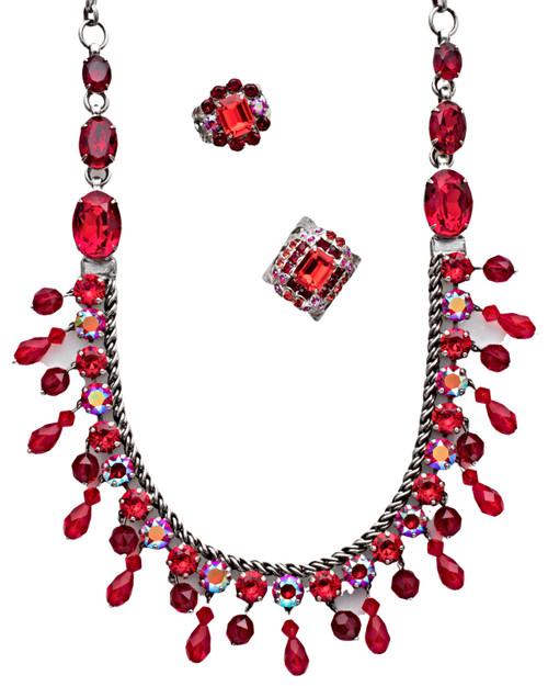 Sorrelli Red Ruby Crystal Necklace -NCM3ASRRU Shown with Sorrelli: RDQ55ASRRU RCM10ASRRU