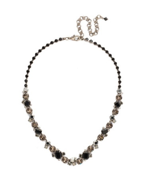 Sorrelli Black Onyx Glittering Multi Cut Crystal Necklace~NCF6ASBON