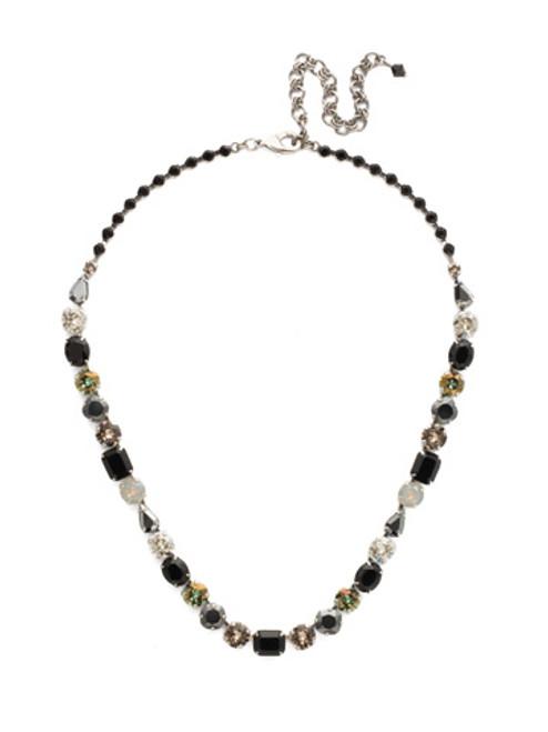 Sorrelli Black Onyx Tansy Crystal Line Necklace~NDQ13ASBON