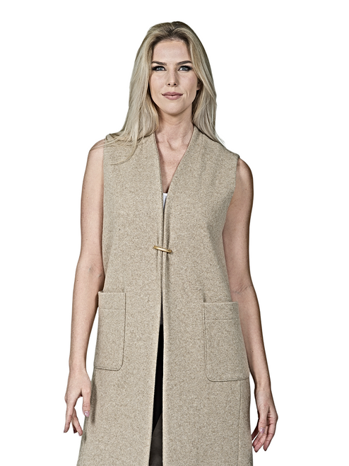 Collarless V Neck Buckle Wool Vest By Design By Kellee