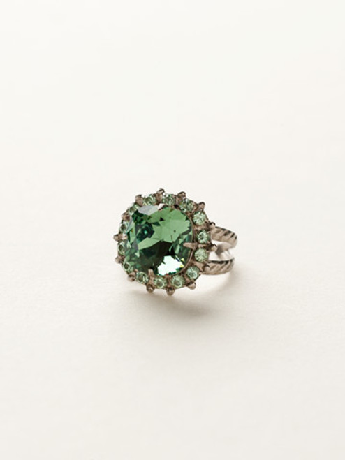 Sorrelli Sea Glass- Cushion Cut Crystal Cocktail Ring~ RCR112ASSGL