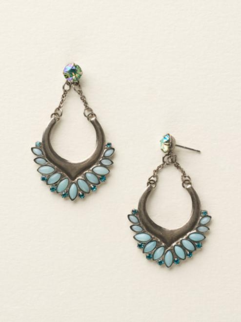 Sorrelli Sea Glass-Open Crescent Semi-Precious Post Earrings~ ECY17ASSGL
