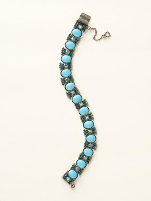 Sorrelli Sea Glass- Oval Semi Precious and Crystal Line Bracelet~ BCY3ASSGL
