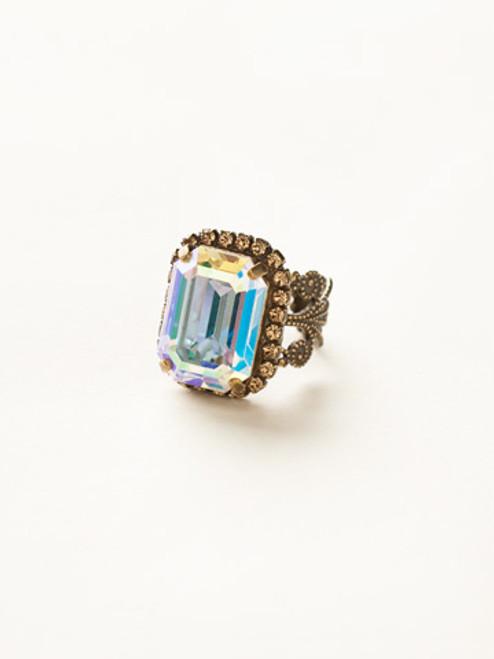 Sorrelli Amaretto- Petite Emerald-Cut Cocktail Ring~ RCF9AGAMA