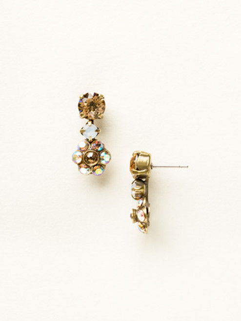 Sorrelli AMARETTO- Flower Drop Dangle Earrings~ EBE2AGAMA