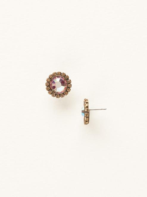 Sorrelli AMARETTO- Circular Stud Earrings with Rhinestone Edging~ ECE20AGAMA