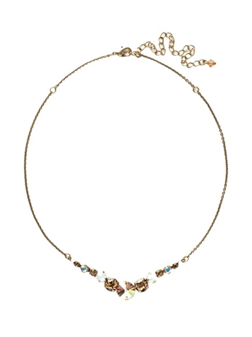 Sorrelli AMARETTO- Delicate Round Crystal Tennis Necklace~ NCQ14AGAMA