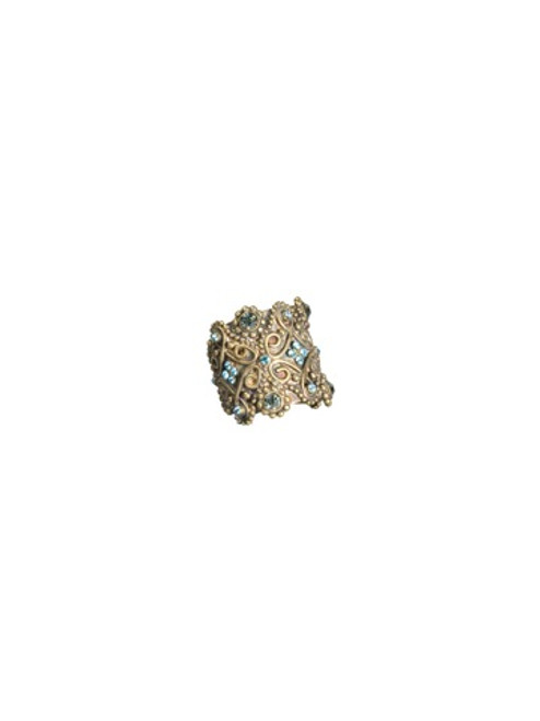 Sorrelli AQUA BUBBLES- Wide Band Ring with Small Ball Chain and Crystal Details~ RBW5AGAQB