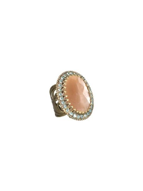Sorrelli AQUA BUBBLES- Crystal Oval Ring~ RBW3AGAQB