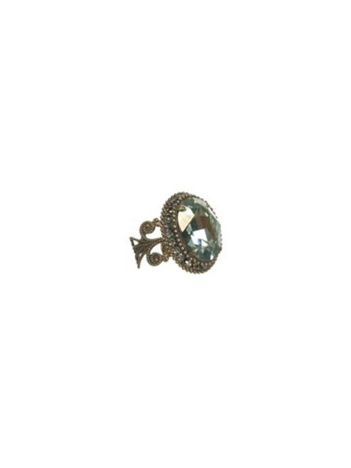 Sorrelli AQUA BUBBLES - Vintage Style Oval Crystal Ring~ RBW2AGAQB