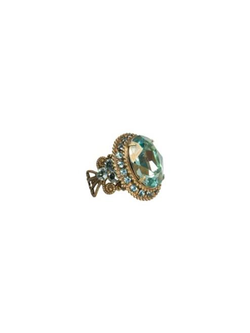 Sorrelli AQUA BUBBLES- Crystal Studded Oval Cocktail Ring~ RBW6AGAQB