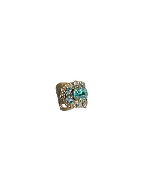 Sorrelli AQUA BUBBLES- Studded Crystal Band Ring~ RBW4AGAQB